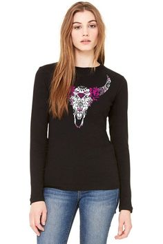 Juniors Country Girl® Sugar Bull Skull Long Sleeve Tee e92f2ae53f