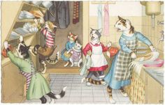 "Mainzer Cats Vintage Postcard - No. 4851 ""Cat in the Kitchen"", Printed in Belgium, Antique"
