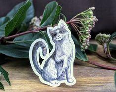 Grey and White Domestic Shorthair Cat Sticker on Weatherproof Glossy Sticker Paper Height: 3 Inches; Width: Inches Stickers are sold individually or in packs of 3 and 10 Product specs: Cat Stickers, Glossier Stickers, Sticker Paper, Colours, Cats, Creative, Handmade Gifts, Prints, Animals