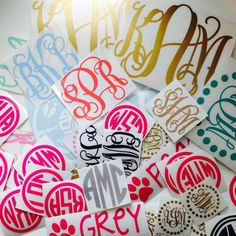Monogram Sticker  Many sizes colors and by MonogramItDarling