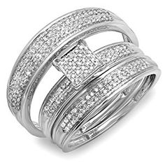 0.50 Carat (ctw) 10k White Gold Round Diamond Mens & Womens Micro Pave Engagement Ring Trio Bridal Wedding Band Set  http://electmejewellery.com/jewelry/wedding-anniversary/bridal-sets/050-carat-ctw-10k-white-gold-round-diamond-mens-womens-micro-pave-engagement-ring-trio-bridal-wedding-band-set-com/