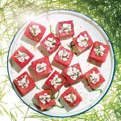 Feta-Stuffed Watermelon Blocks / Sang An Basil Recipes, Fig Recipes, Soup Recipes, Cooking Recipes, Picnic Recipes, Epicurious Recipes, Veggie Recipes, Yummy Recipes, Cookout Appetizers