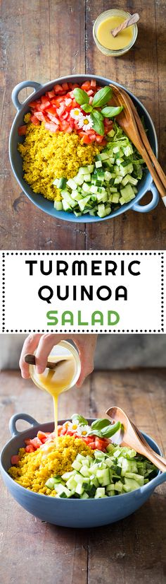 Healthy Dinner Ideas : Healthy side dish for any BBQ: Turmeric Quinoa Salad. Healthy Salad Recipes, Lunch Recipes, Real Food Recipes, Healthy Snacks, Vegetarian Recipes, Dinner Recipes, Cooking Recipes, Free Recipes, Dinner Ideas