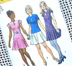 Vintage 70s Dress Sewing Pattern Simplicity by OldFashionedNotions