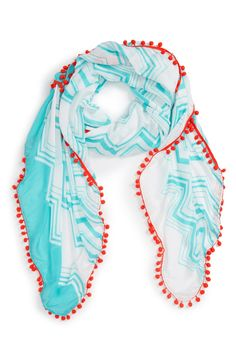 Shiraleah 'Julia' Pompom Trim Scarf available at #Nordstrom