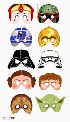 STAR WARS Masken Free Printables for Kids Birthday Party