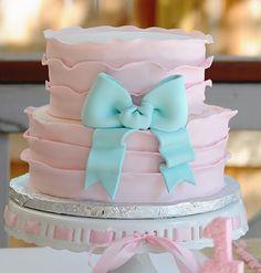 Pink and aqua cake