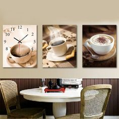 Dinning Room Decor Decorative Wall Clock Set Hang Picture Teacup wot9-380