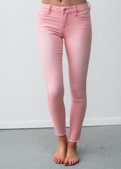 Pink Skinny Jeans With Frayed Bottom! Pants, Jeggings, Pink Jeggings, Online Boutique, Fashion, Online Shopping, Modern Vintage Boutique