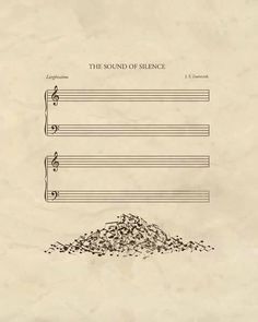 A poster of 'The Sound Of Silence' is visualised meaning of words to use metaphor. A word 'sound' visualises to notes and 'silence' is empty manuscript. Pile of notes serves interesting and a sense of humour. And it uses space and symmetrical layout. Humor Musical, Music Is Life, My Music, Piano Music, Poesia Visual, Music Jokes, Funny Music, Music Theory, Music Stuff