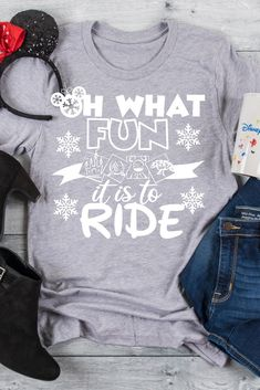 "Oh What Fun it is to Ride is the perfect tee for a Disney Holiday Vacation. This also makes a great gift for ""Disney Ride Loving"" family and friends. Teen Christmas Gifts, Creative Christmas Gifts, Christmas Shirts, Holiday, Cozy Christmas, Casual Summer Outfits For Teens, Winter Outfits, Casual Outfits, Gifts For Teens"
