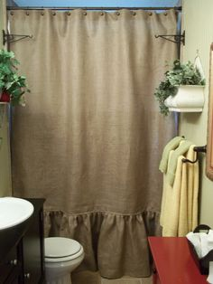 Ruffled Bottom Burlap Shower Curtain by SimplyFrenchMarket on Etsy, $72.00