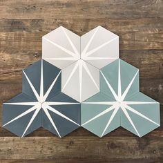 What's new at Cement Tile Shop you ask? The Zuma hexagon pattern is new, that's what! The Zuma can be arranged in several different orientations and is stocked in 3 gorgeous color combinations. The pattern is in stock and ready to ship! Hexagon Tiles, Hexagon Pattern, Geometric Tiles, Mosaic Tiles, Wall Tiles, Home Decor Signs, Cheap Home Decor, The Tile Shop, Encaustic Tile