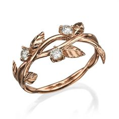 Leaves Rose Gold Engagement Ring, Unique Ring, 14k Ring, Wedding Ring, Diamond Ring, Bridal Jewelry, Leaf Ring, Art Deco Ring by Gispandesigns on Etsy https://www.etsy.com/listing/512898090/leaves-rose-gold-engagement-ring-unique