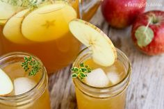 Whether you're sitting around the fire pit or entertaining for Thanksgiving, this Harvest Apple Sangria with Bourbon and Thyme is perfect for fall. Bourbon Recipes, Thyme Recipes, Sangria Recipes, Drink Recipes, Fall Recipes, Fall Sangria, Apple Sangria, Cocktail Drinks, Fun Drinks