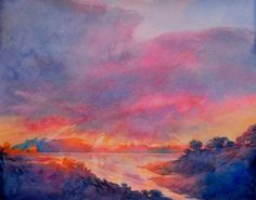 Texas Painting - Hill Country Last Light No 3 by Virgil Carter Watercolor Sky, Watercolor Paintings, Original Paintings, Painted Hills, Magical Images, Country Paintings, Beautiful Paintings, Contemporary Paintings, American Artists
