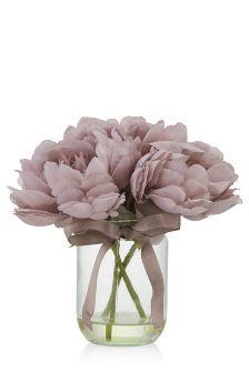 LIVING ROOM - Mauve Peony Jam Jar - faux flowers because I'm a plant killer :/