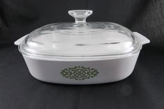 Corning Ware Green Medallion Shell Oil Promo Casserole with Lid - A-8-B Baking Dish w/ Pyrex Lid by CheekyBirdy on Etsy