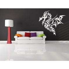Flying Dragon Tribal Wall Stickers Wall Art Decal - Tribal Dragons - Fantasy