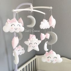 Elephant baby mobile, blue and gray baby mobile, nursery crib mobile, baby mobile, gray moon mobile cloud star mobile elephant nursery decor Baby Bedroom, Baby Room Decor, Nursery Decor, Bedroom Mint, Nursery Crib, Moon Nursery, Baby Crafts, Felt Crafts, Diy And Crafts