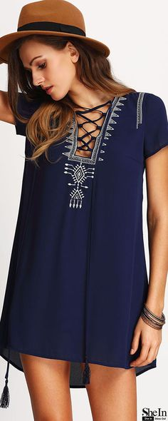 Which dress will suit you best this season? Shein shows the latest styles to aid you on your shopping quest. It depends on you to try this Royal Blue Lace Up Print Front Shift Dress at any time.