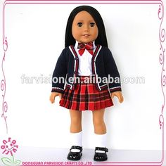 OEM 18 inch vinyl doll with long straight Kanekalon wigs