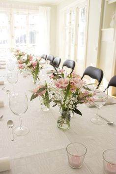 centerpieces simple elegant romantic pink white  party wedding in glass jars