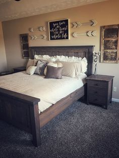 Most Beautiful Rustic Bedroom Design Ideas. You couldn't decide which one to choose between rustic bedroom designs? Are you looking for a stylish rustic bedroom design. We have put together the best rustic bedroom designs for you. Find your dream bedroom. Rustic Master Bedroom, Comfy Bedroom, Modern Bedroom Decor, Master Bedrooms, Bedroom Ideas Master On A Budget, Bedroom Bed, Bedroom Wall Decor Above Bed, Bathroom Decor Ideas On A Budget, Girls Bedroom