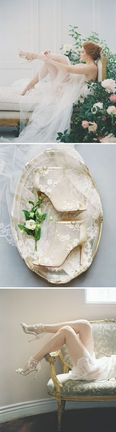 Bridal shoes trend - flower petal peep toe wedding booties adorned with delicate mix of silk and tulle petals. Bella Belle by Joy Proctor.