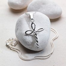 Silver Twisted Cross Necklace. Link is broken but should be pretty simple.