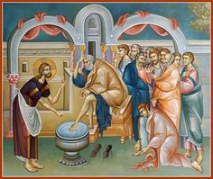 Jesus washing the disciples feet. Religious Icons, Religious Art, Life Of Christ, Jesus Christ, Pictures To Draw, Art Pictures, Biblical Art, Byzantine Icons, Holy Week