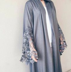 Lailli Mirza in this sultry grey robe by Qabeela. The lace sleeves are to die fo Tesettür Elbise Modelleri 2020 Abaya Fashion, Modest Fashion, Fashion Dresses, Modest Wear, Modest Outfits, Modern Abaya, Moslem Fashion, Abaya Designs, Abaya Style