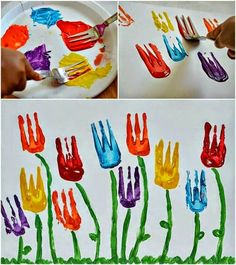 Flower art project-Use a fork for the flower part. Flower art project-Use a fork for the flower part. # artsy flower art project part Spring Art Projects, Spring Crafts, Projects For Kids, Garden Projects, Clay Projects, Project Ideas, Kindergarten Art, Preschool Crafts, Crafts For Kids