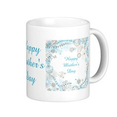 Happy Mother's Day Blue Flowers Mugs
