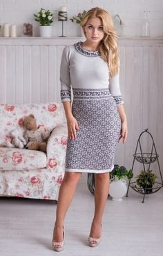 Knitted dress Lapland with a jacquard pattern of gray silky viscose, very pleasant to the skin. Before ordering or if you have any questions, Jacquard Pattern, Beautiful Dresses, Nice Dresses, Knit Or Crochet, Knitted Blankets, Baby Knitting, Knit Dress, Dress To Impress, Knitwear