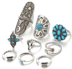 Cheap women ring set, Buy Quality ring set directly from China women rings Suppliers: Vintage Bohemian Beach Women Ring Set Ethnic Style Antique Silver Midi Finger Boho Ring Charm Anelli Bohemian Rings, Bohemian Jewelry, Vintage Bohemian, Bohemian Beach, Bohemian Style, Ethnic Style, Boho Chic, Hippie Rings, Gypsy Rings