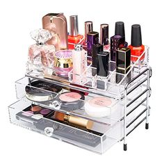 YOLER Acrylic Bathroom Countertop Makeup Organizer with Stainless Frame Jewelry Storage Drawers (Small) Neat And Tidy, Storage Drawers, Jewellery Storage, Jewelry Organization, Bathroom Trays, Countertops, Frame, Amazon, Link