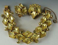 VINTAGE Juliana DE Rhinestone SET Diamond Chunky Bracelet  Earrings VERIFIED  #JULIANADE #Statement