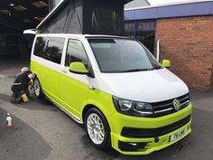 #campervan #Alloys #VW #TDI #Conversions #T6 #lowered #vwlowered #upholstry #respray #twotone #camper #transporter Vw Transporter Campervan, T5 Bus, Bus Camper, Vw Tdi, Vw Caravelle, T6 California, Aston Martin Cars, Volkswagen Bus, Latest Cars