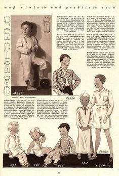 Illustrierte Wäsche- und Handarbeits-Zeitung 1935 heft 4. Boy patterns. Models 963 and 929: 1-2y. Models 14337 and 891: 2-4y. Model 657: 4-6y. Models 76726 and 14525: 10-12y. PDF sewing patterns for these models available upon request, please contact me for more information.