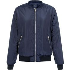 New Look Navy Bomber Jacket (€25) ❤ liked on Polyvore featuring outerwear, jackets, navy, long sleeve jacket, bomber style jacket, shiny jacket, navy blue bomber jacket and blouson jacket