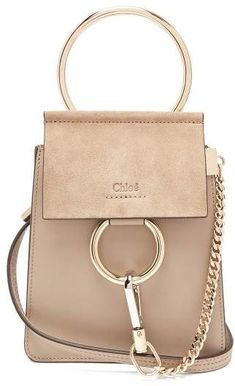Chloé Faye Mini Suede Panel Leather Cross Body Bag - Womens - Grey Soft  Leather Handbags 92230f6425e3a