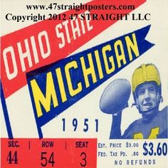 1951 Ohio State vs. Michigan Football Ticket Coasters.™ Football gifts, football drink coasters.  Ceramic drink coasters printed in the U.S.A. and shipped within 24 hours. Made from over 2,000 historic college football tickets. Best last minute Father's Day gifts.