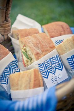 wrap sandwiches in wax paper and fun stationary for your memorial day gathering.