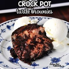 Ooey gooey....scrumdiddlyumptious...amazing...awesome! Yep, I think that is a good way to describe these delicious Crock Pot Turtle Brownies.