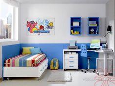 Dormitorio infantil niño azul y blanco