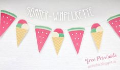 Free printable watermelon and ice cream cone party banner Summer Deco, Free Printable Tags, Free Printables, Christmas Wreath Clipart, Halloween Infantil, Diy Girlande, Paper Crafts, Diy Crafts, Chewing Gum