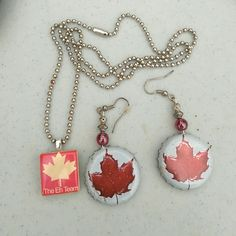 Molson beer cap earring and Canadian necklace Homemade beer cap earrings and necklace Jewelry Earrings