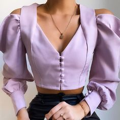 ArtSu Cut Out Puff Sleeve Summer Shirts Blouse 2020 Fashion Purple White Ladies Crop Top Button V Neck Sexy Party Tops Women Cute Fashion, Look Fashion, Korean Fashion, Womens Fashion, Modelos Fashion, Looks Street Style, Cute Casual Outfits, Blouse Designs, Blouses For Women