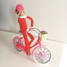 Elf on The Shelf idea - borrow Barbie's bike for a ride back to the North Pole!